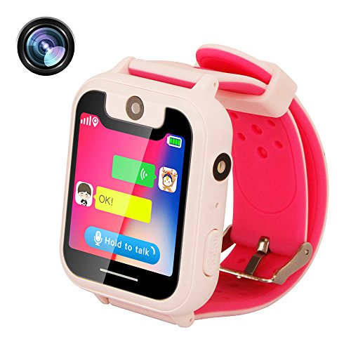TDH GPS Tracker Kids Smart Watch for Children Girls Boys Gifts with Camera SIM Calls Anti-lost SOS Smartwatch Bracelet for iPhone Android Smartphone(Only Support T-Mobile) (Pink)