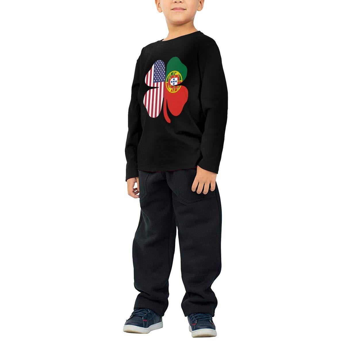 CERTONGCXTS Baby Boys Kids American Portugal Flag Shamrock ComfortSoft Long Sleeve Tee