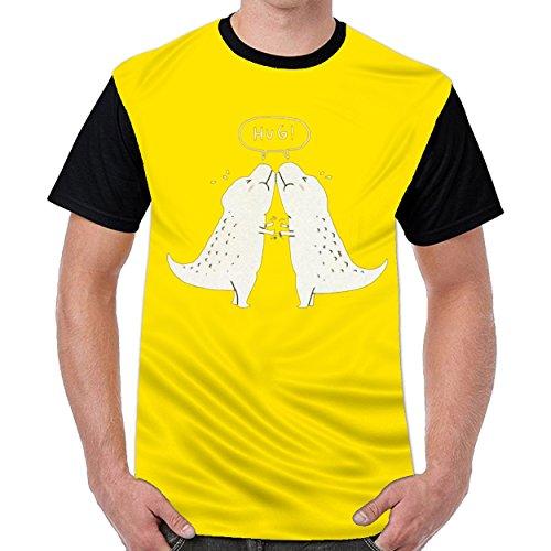 MordenCabin Hug Funny Dinosaur Men Cotton Crew Neck T Shirt Top Blouse Shirt Yellow