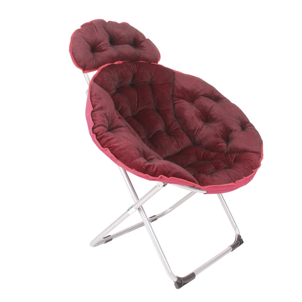 Folding chair / moon chair / lazy chair / lunch break deck chair / backrest / sun chair / round folding chair / casual home computer chair /Three colors available ( Color : Reddish brown )