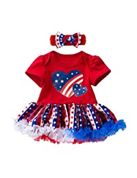 (3-24M) Independence Day Baby Short Sleeve Heart Star Print Dress + Hair Strap Set