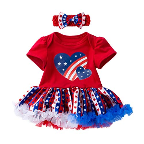 FEITONG Toddler Baby 4th of July Short Sleeve Stars Print Dress+Headbands Set Outfit(Red,12-24M]()