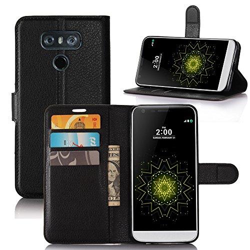 Coque LG G6 - EUGO Flip Housse Étui coque de protection en Luxe cuir pour + 1 × Noir Stylet d'Ecran Tactile - Noir