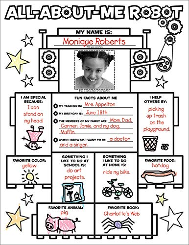Graphic Organizer Posters: All-About-Me Robot (Grades K-2): 30 Fill-in Personal Posters for Kids to Display with -