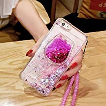 iphone 6/6S Liquid Case,Goblet Wine Glass Liquid Quicksand Flowing Floating Bling Glitter Sexy Lip Case with Wrist Strap for Apple iphone 6/6S (Heart Rose)