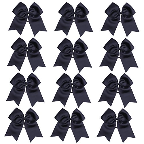 """Price comparison product image ICObuty 12 Pcs 8"""" Jumbo Cheer Bows Ponytail Holder Cheerleading Bows Hair Tie for Teens Girl (Black)"""