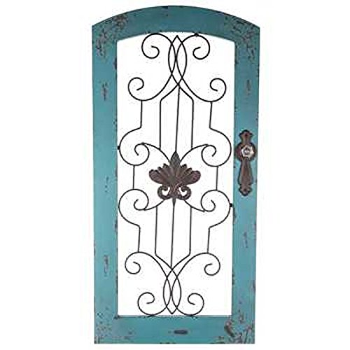 Distressed Turquoise Wood & Metal Wall (Arch Metal Wall)