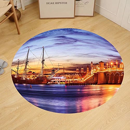 Gzhihine Custom round floor mat United States St. Augustine Florida Famous Bridge of Lions Dreamy Sunset Majestic Bedroom Living Room Dorm Orange Blue - Outlets St Fl Augustine