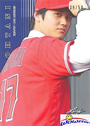 (SHOHEI OHTANI 2018 Leaf Premier Rookie #PR1 BLUE PARALEL SHORTPRINT ROOKIE Sequentially Numbered out of 50 Los Angeles Angels! Limited Edition Parallel MINT ROOKIE Card of Japans Babe Ruth)