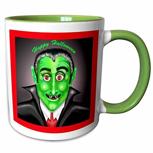 3dRose Dawn Gagnon Photography Halloween Designs - Count Dracula Happy Halloween Greeting - 15oz Two-Tone Green Mug (mug_165617_12) -
