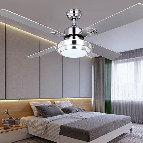 RainierLight Silver Stainless Steel Ceiling Fan Household Decorative for Indoor with Remote Control LED 3 Changing Light Chandelier Lighting Fixture (42inch) by RainierLight (Image #3)