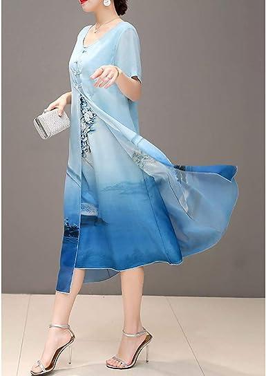 Nls Vestidos Mujer Tallas Grandes Noche Tejido Oriental Gasa Vestido Estampado Floral Midi Azul Piscina Xxl Amazon Es Ropa Y Accesorios