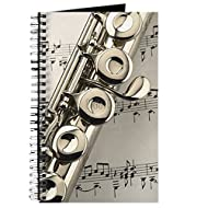 CafePress - Flute On Music Sheet - Spiral Bound Journal Notebook, Personal Diary, Lined