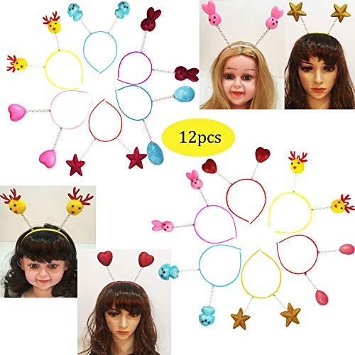 Glitter Antenna Head Boppers in Assorted Design Rainbow Shapes Novelty Headbands Best for Christmas Birthday Funny Party for Kids and Adults-12pcs ()