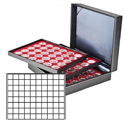 LINDNER Das Original Münzkassette NERA XL mit 3 Tableaus und hellroten Münzeinlagen mit 240 quadratischen Fächern für Münzen/Münzkapseln bis Ø 24 mm