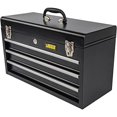JEGS 81400 Black 3 Drawer Professional Tool Box for Garage, Truck, or Trailer