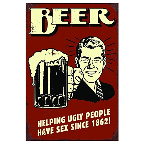 AnnaStoree Metal Signs BEER HELPING UGLY PEOPLE HAVE SEX SINCE 1862 Retro Vintage Chic Style Decorative Old Aluminum Metal Signs for Bar Pub Gift 12''X8'' Inches by AnnaStoree