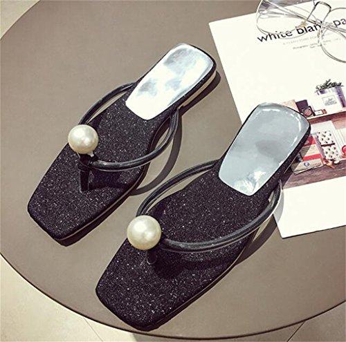 Zapatos Playa En Negro para Deslizador Mar Slip Clip De Brillo Talón Sandalia Pie Mujer del De La Chancletas Señoras Plano La del del Verano El del Dedo del con Perla Elegante On De La x4qERqwfp