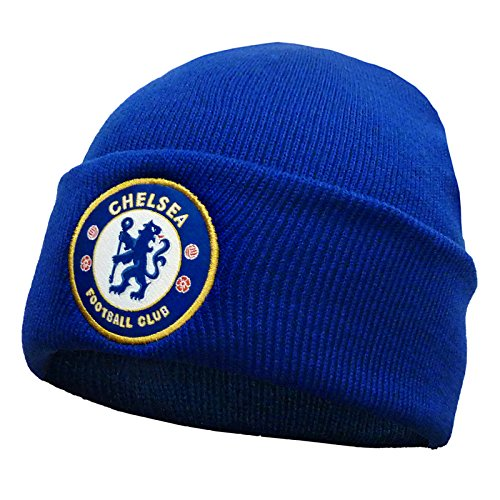 Chelsea FC Official Soccer Gift Kids Knitted Bronx Beanie Hat Crest Royal