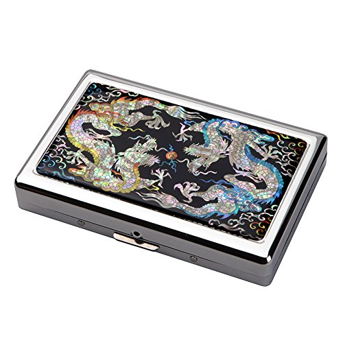 Mother of Pearl Yellow Blue Dragon Design Extra Long 100S Super Slim King Size 16 Cigarette Engraved Metal Steel RFID Blocking Protection Credit Business Card US Bill Cash Holder Case (Pattern Cigarette Case)