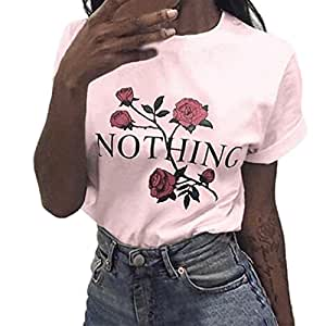 Enjocho Women's Summer Nothing Rose Printing Tops O-Neck Casual Teen Girls Tees T- Shirt (M, Pink)