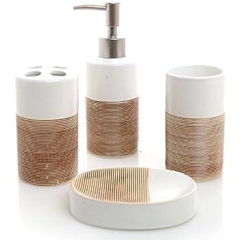 This Item Deluxe 4 Piece White Beige Ceramic Bathroom Set W Soap Dispenser Toothbrush Holder Tumbler Soap Dish