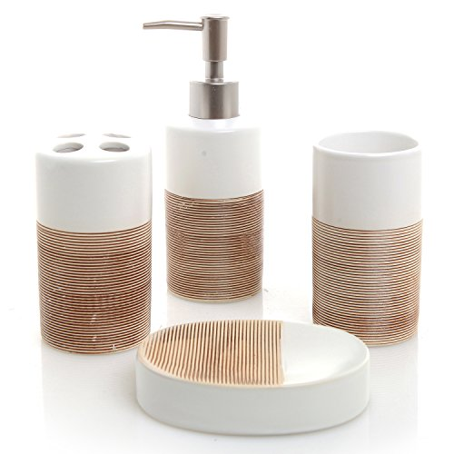 Deluxe 4 Piece White & Beige Ceramic Bathroom Set w/ Soap Dispenser, Toothbrush Holder, Tumbler & Soap Dish (Ceramic Bathroom Accessories Sets)