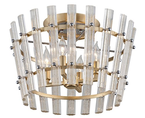 Sauterne 4-Light Semi-Flush Mount - Gold Leaf Finish With Polished Stainless Accents - Handmade Clear Venetian Glass Shade