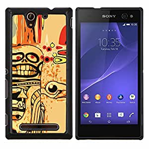 YiPhone /// Prima de resorte delgada de la cubierta del caso de Shell Armor - Resumen del cráneo de Goth Arte - Sony Xperia C3