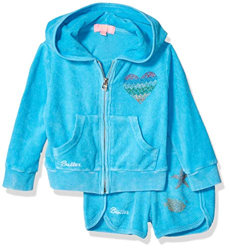 Butter Baby Girls Fleece Zip Hoodie and Short Set, Chill Mermaid Bayou Blue, ()