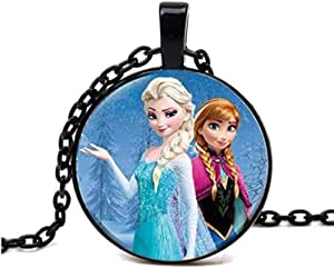Black necklace with Frozen style pendant for girls