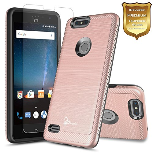 ZTE Blade X Case (Cricket) with [Tempered Glass Screen Protector], NageBee [Carbon Fiber Brushed] Defender [Dual Layer] Protector Hybrid Case For ZTE Blade X Z965 (Cricket Wireless) (Rose Gold)