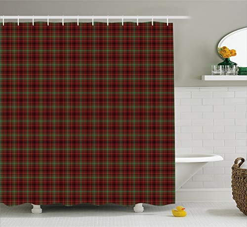 (Ambesonne Plaid Shower Curtain, Classic Composition of Squares Tartan Pattern Scottish Style Illustration, Cloth Fabric Bathroom Decor Set with Hooks, 70