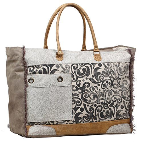 Myra Bag Hide Floral Upcycled Canvas Weekender Bag S-1199