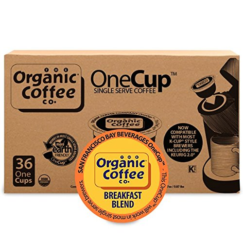 Organic Coffee Co. OneCup, Breakfast Combination, 36 Count- Single Serve Coffee, Compatible with Keurig K-cup Brewers