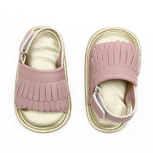 Sandals Walker (Baby Sandal Tassels Summer Lace-up Toddler Gladiator Shoes 0 6 12 18 Months (13cm Sole(12-18 Months), Pink))