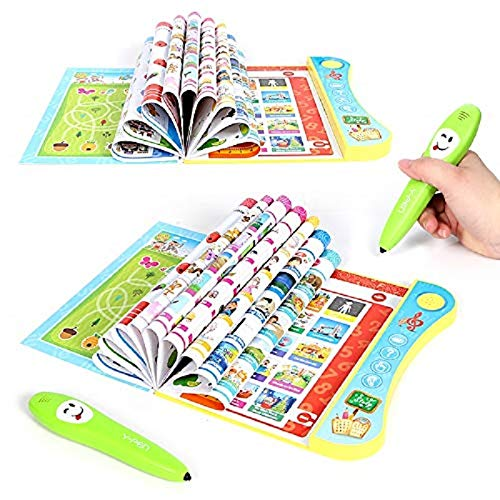 (JohnCalbe Electronic y-Book with Smart Logic Pen Multifunction Pronunciation Learning Machine for Kid,Early Educational Book Teaching Toys)
