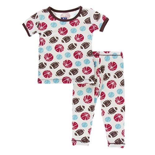 Kickee Pants Little Boys Print Short Sleeve Pajama Set, Natural Sports, 18-24 Months