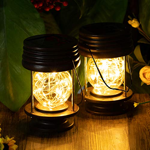 pearlstar Solar Lanterns Outdoor Hanging Lights Waterproof Decorative Solar Lantern Table Lamp Landscape Light Yard Garden Patio Warm White with Fairy LED Lights for Indoor Tabletop Desk Pack of 2