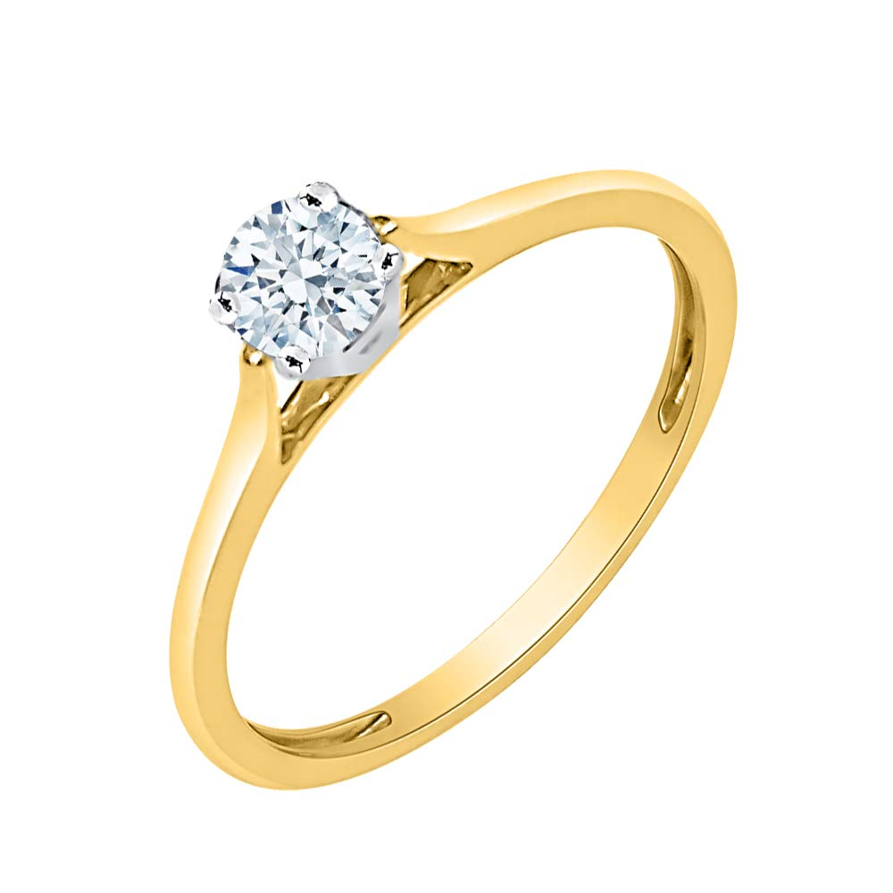 G-H,I2-I3 Size-7.25 1//10 cttw, 3 Diamond Promise Ring in 10K Pink Gold
