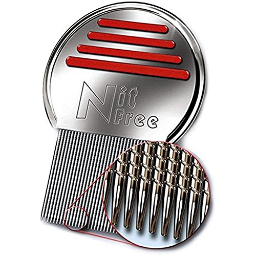 Nit Free Terminator Lice Comb, Professional Stainless Steel Louse and Nit Comb for Head Lice Treatment, Removes Nits, COLORS MAY VARY