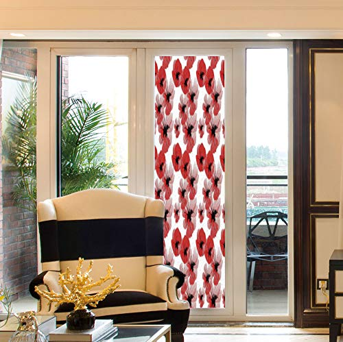 (YOLIYANA Non Adhesive Window Film,Floral,for Window Moving Glass Door,Poppies Retro Halftone Effect Fertility and Eternal Life,24''x78'')