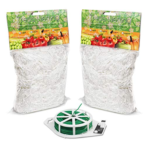 BoHoFarm Plant Trellis Netting 5x30ft 2-Pack Trellis Net Heavy-Duty Polyester Plant Support Vine Climbing Hydroponics with/Garden Twine (Net For Plants)