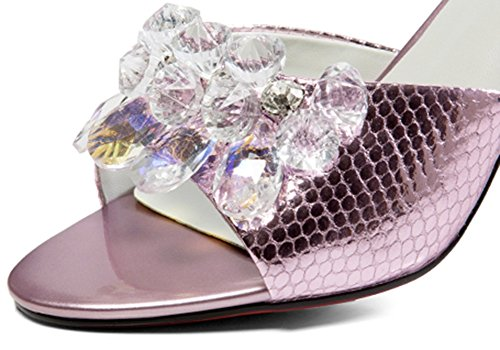 ZCJB Summer Woman Mouth High Half Pink Heel Sandals Outer Crystal Slipper Wear Slippers Fish dTtZqq
