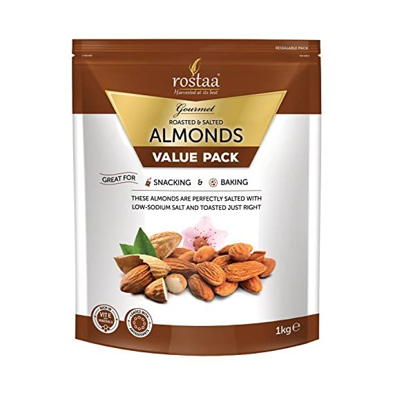 Rostaa Premium Salted Almonds Value Pack, 1kg