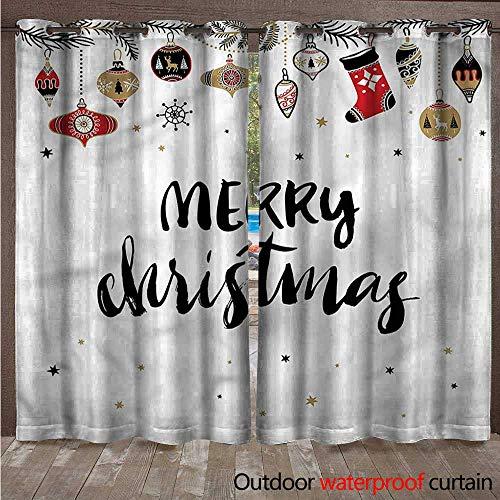 BlountDecor Christmas Home Patio Outdoor Curtain Modern Inspiring Quote W120 x L96