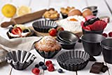 Set of 6 Nonstick Individual Molds Chocolate Molten Pans Pudding Cups Raspberry Souffle Pot Pie Darioles Ramekins Brownies Tumblers Popovers - Size 3.2 Inches
