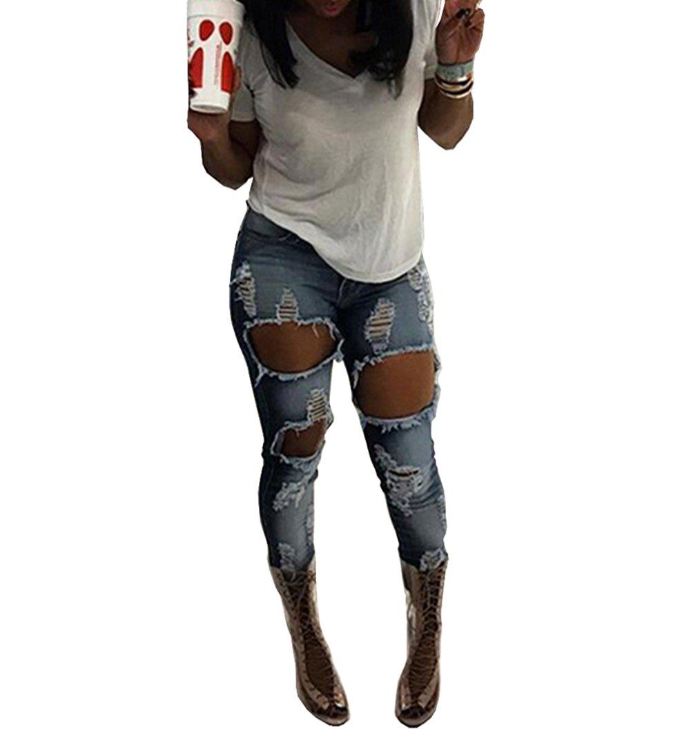 Happyear Women Hole Jeans High Waist Ripped Denim Skinny (XXL, Blue)