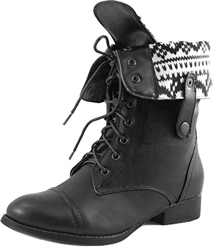 DBDK SHARPERY-1 Womens lace up combat style mid calf boots Black HoXvyhad