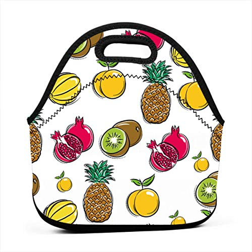- Lemon Pomegranate Pear Kiwi Pineapple Insulated Neoprene Lunch Bag for Women, Men and Kids - Reusable Soft Lunch Tote for Work School and Picnic- by Fashion.Reborn